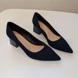 Navy Suede Pointed Block Patent Heel Zara